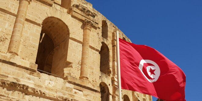 tunisia-el-jem-amphitheatre-flag
